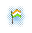 Flag of India icon in comics style vector image vector image