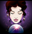 fortune teller looks into a crystal ball vector image