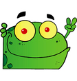 Frog Gesturing The Peace Sign With His Hand vector image vector image