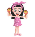 girl holding ice cream on white background vector image vector image