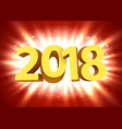 gold 2018 year type on a bright red background vector image