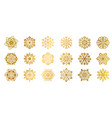 gold snowflakes golden shine christmas flake for vector image vector image