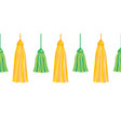 green yellow hanging decorative tassels set vector image vector image