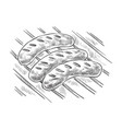 grilling sausages on barbecue grill vector image