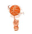 hand draw basketball ball vector image