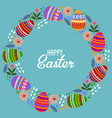 happy easter cartoon cute wreath of eggs and vector image