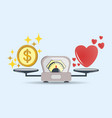 heart and money for scales icon balance vector image vector image