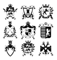 Heraldic Emblems Design Black Icons Collection vector image