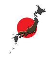 japan map with the japanese flag vector image vector image