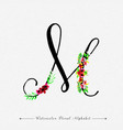 letter m watercolor floral background vector image