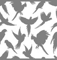 light grey parrots silhouette seamless pattern vector image vector image