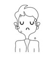 line scared man with elegant clothes and hairstyle vector image vector image