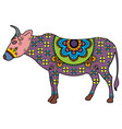 mehndi tattoo doodle cow colored in indian style vector image vector image