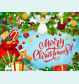 merry christmas greeting card with gifts and angel vector image vector image