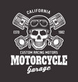 motorcycle biker emblem with skull on dark vector image vector image