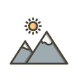 mountain with sun icon vector image vector image