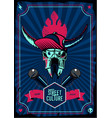 music poster with microphone and bull skull retro vector image vector image