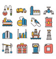 oil industry filled outline icons vector image