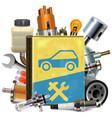 old car repair book with car parts vector image