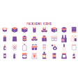 packaging box icon shipping set vector image
