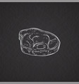 pork or beef meat piece icon chalk drawn cartoon vector image