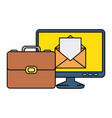 portfolio briefcase with computer and email vector image