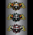 punk cyber human skull with pistols and fire flame vector image vector image