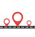 road with red pins in flat design pin icons vector image vector image