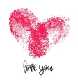 Romantic poster with hand lettering and heart vector image vector image