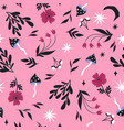 seamless pattern with mushrooms and flowers vector image vector image