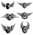 set of winged car tires on white background vector image vector image