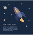 single rocket and starry sky in a open space flat vector image vector image