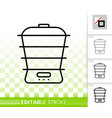 steamer simple black line icon vector image vector image