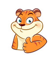 tiger cartoon character with thumbs up vector image