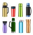 vacuum flask color realistic set vector image vector image