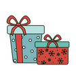 wrapped gift box celebration merry christmas vector image vector image