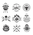 Barbecue and grill labels set BBQ emblems and vector image