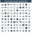 100 music icons vector image vector image