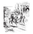a man and a girl riding horses vintage vector image vector image
