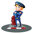 A smiling policeman at the street vector image
