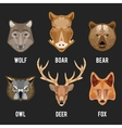 Animals heads flat icons set vector image