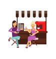 best female friends talking and sitting near vector image