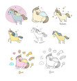 big set with a unicorn mythical animal cartoon vector image