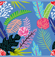 cartoon tropical flowers and leaves seamless blue vector image