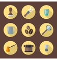 coffee barista equipment icons vector image vector image