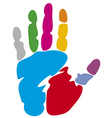 colored hand print vector image vector image