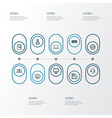computer outline icons set collection of hard vector image vector image