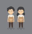 couple character wearing barista coffee uniform