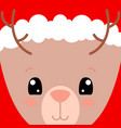 cute deer face card santa claus hat on deer vector image