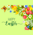 easter paschal flowers wreath eggs greeting vector image vector image
